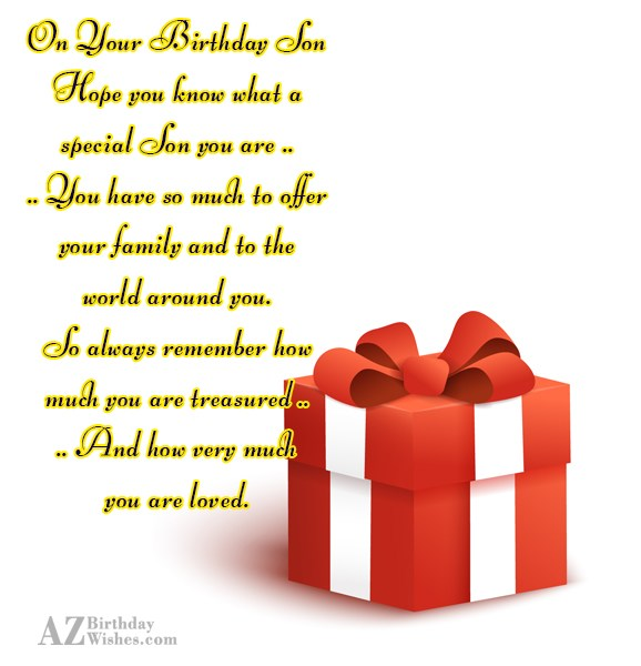 On Your Birthday SonHope you know what… - AZBirthdayWishes.com