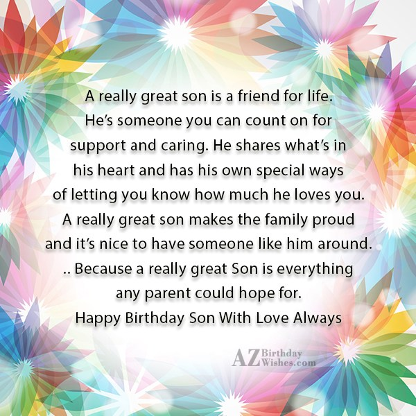 A really great sonis a friend for… - AZBirthdayWishes.com