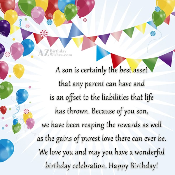 A son is certainly the best asset… - AZBirthdayWishes.com