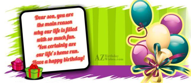 Dear son, you are the main reason… - AZBirthdayWishes.com
