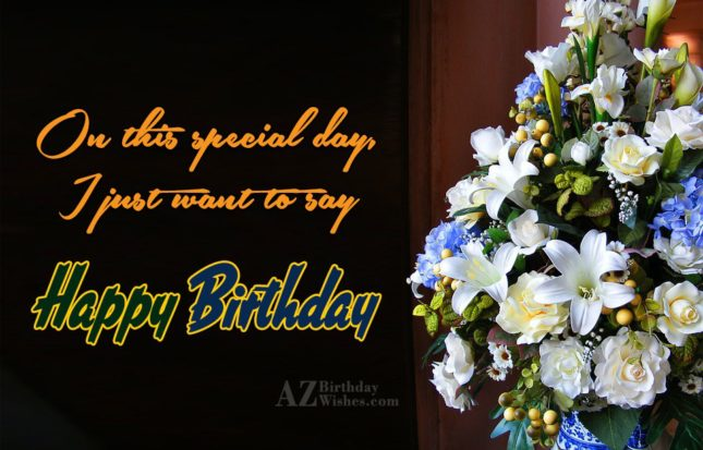 On this special day i just want to say Happy Birthday - AZBirthdayWishes.com