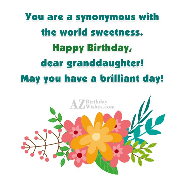 You are a synonymous with the world sweetness. Happy Birthday, dear granddaughter! May you have a brilliant day! - AZBirthdayWishes.com