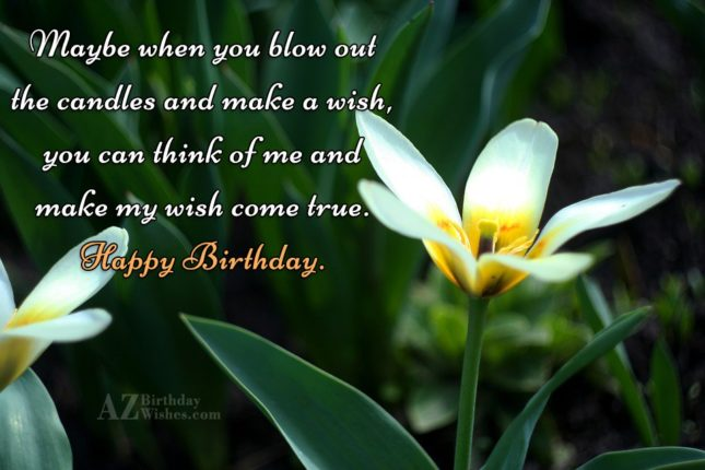 Maybe when you blow out the candles and make a wish, you can think of me and make my wish come true. Happy Birthday. - AZBirthdayWishes.com