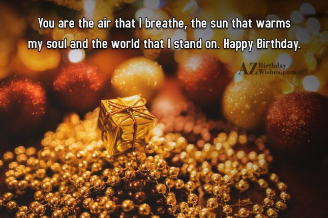 You are the air that I breathe, the sun that warms my soul and the world that I stand on. Happy Birthday. - AZBirthdayWishes.com