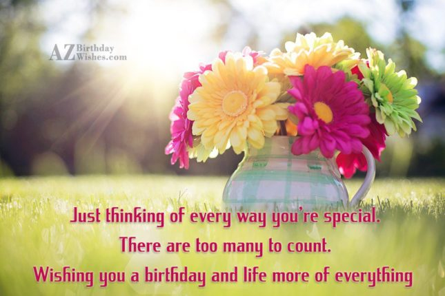 Just thinking of every way you're special. There are too many to count. Wishing you a birthday and life more of everything - AZBirthdayWishes.com