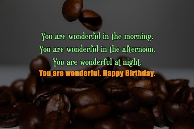 You are wonderful in the morning. You are wonderful in the afternoon. You are wonderful at night. You are wonderful. Happy Birthday. - AZBirthdayWishes.com