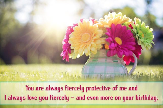 You are always fiercely protective of me and I always love you fiercely – and even more on your birthday. - AZBirthdayWishes.com