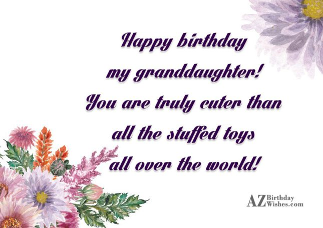 Happy birthday my granddaughter! You are truly cuter than all the stuffed toys all over the world! - AZBirthdayWishes.com