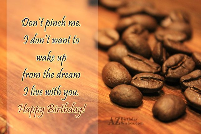 Don't pinch me. I don't want to wake up from the dream I live with you. Happy Birthday! - AZBirthdayWishes.com