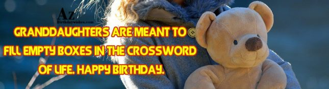 Granddaughters are meant to fill empty boxes in the crossword of life. Happy birthday. - AZBirthdayWishes.com