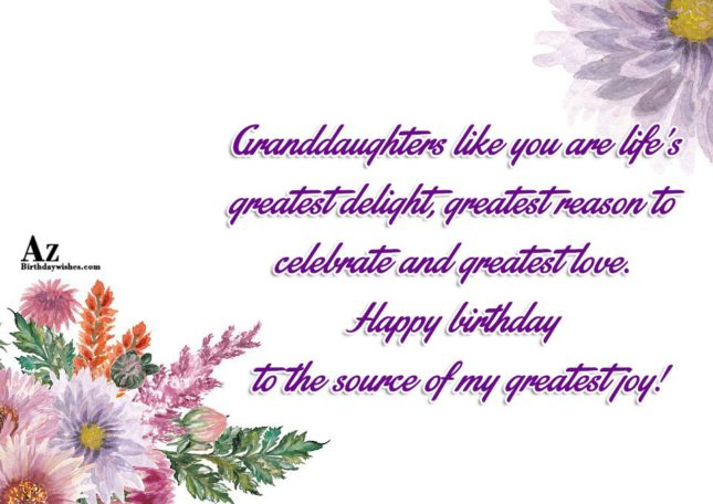 Granddaughters like you are life's greatest delight, greatest reason to celebrate and greatest love. Happy birthday to the source of my greatest joy - AZBirthdayWishes.com