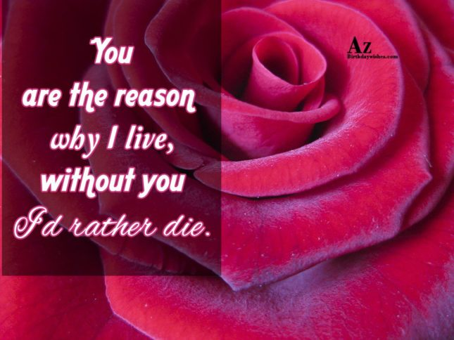 You are the reason why I live, without you I'd rather die - AZBirthdayWishes.com