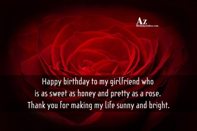 Happy birthday to my girlfriend who is as sweet as honey and pretty as a rose. Thank you for making my life sunny and bright. - AZBirthdayWishes.com