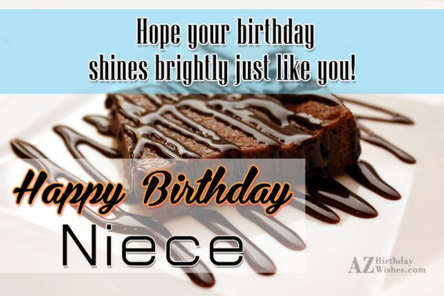 Hope your birthday shines bright just like you happy birthday niece - AZBirthdayWishes.com