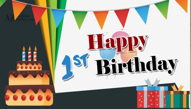 Beautiful vector with 1st birthday wish… - AZBirthdayWishes.com