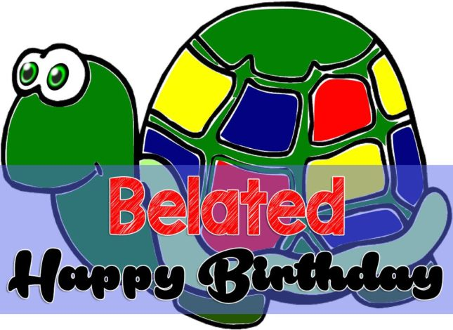 Happy belated birthday wish a cartoon turtle… - AZBirthdayWishes.com
