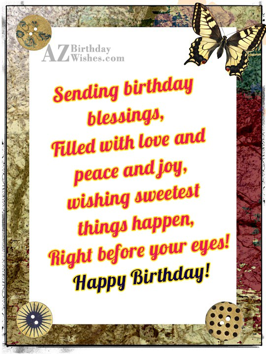 Sending birthday messages with butterfly border… - AZBirthdayWishes.com