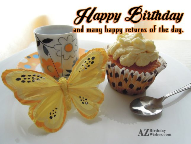 Birthday greeting with cupcake and butterfly background… - AZBirthdayWishes.com