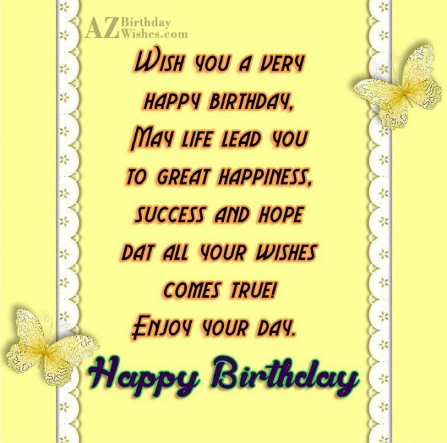 Birthday message with cute butterfly border… - AZBirthdayWishes.com
