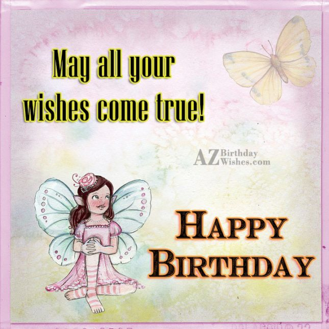 Birthday greeting with fairy and butterfly in background… - AZBirthdayWishes.com