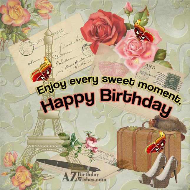 Birthday greeting with postcard as background… - AZBirthdayWishes.com