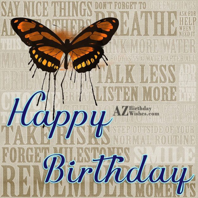 Happy birthday message with butterfly card in the background… - AZBirthdayWishes.com