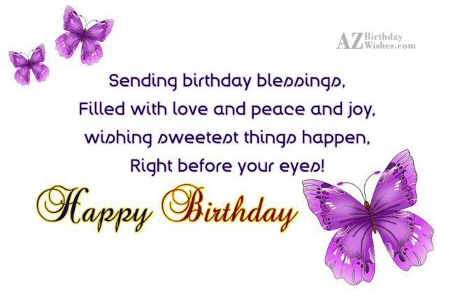 Sending birthday blessings with love… - AZBirthdayWishes.com