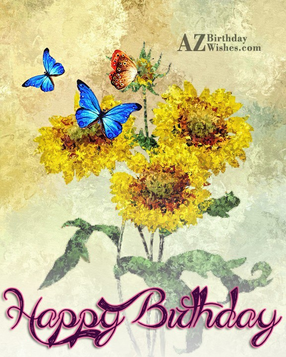 Happy birthday with painted flower and butterfly… - AZBirthdayWishes.com