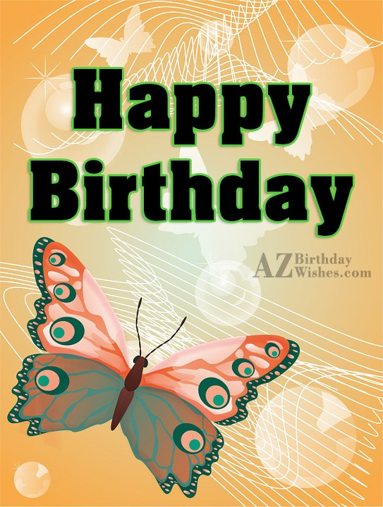 Happy birthday with cartoon butterfly… - AZBirthdayWishes.com