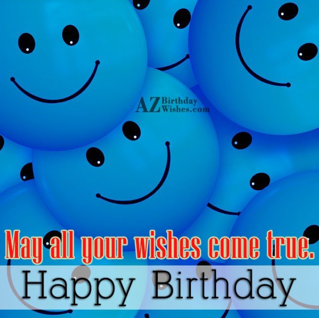 Birthday greetings on blue emoticons… - AZBirthdayWishes.com