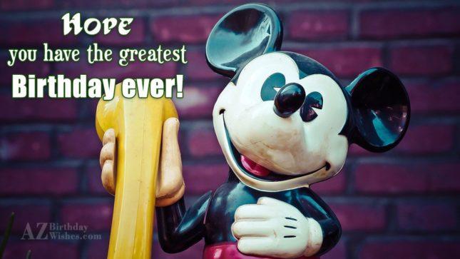 Birthday greeting on Mickey Mouse holding phone… - AZBirthdayWishes.com