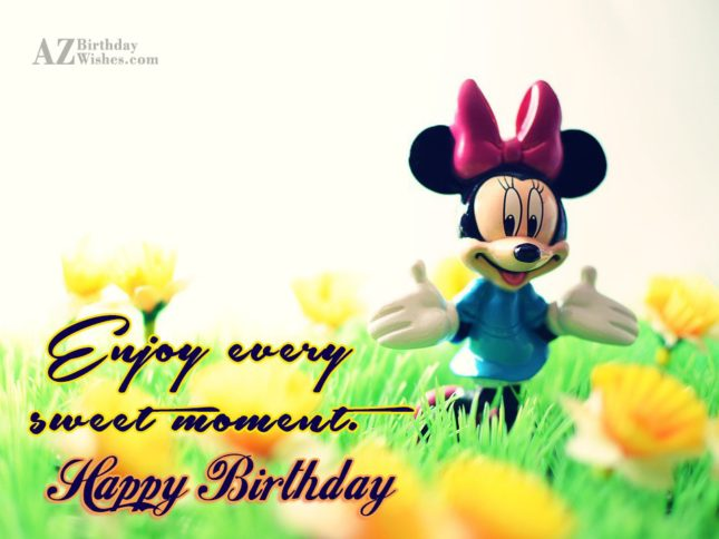 birthday Greeting with Minnie Mouse and flowers… - AZBirthdayWishes.com