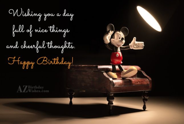 Lovely Birthday wish with Mickey Mouse on piano… - AZBirthdayWishes.com