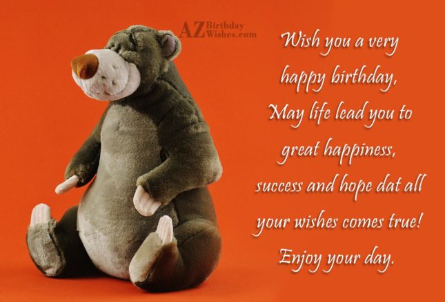 Birthday greeting with Baloo bear… - AZBirthdayWishes.com