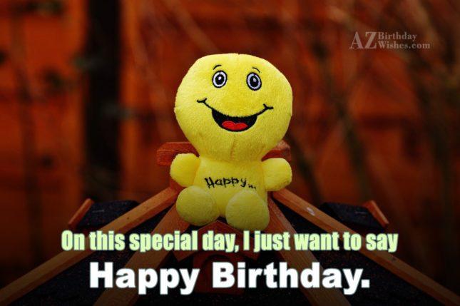 birthday greeting with a stuffed emoticon toy… - AZBirthdayWishes.com