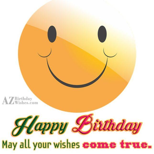 Birthday wish with a chubby smiling emoticon… - AZBirthdayWishes.com