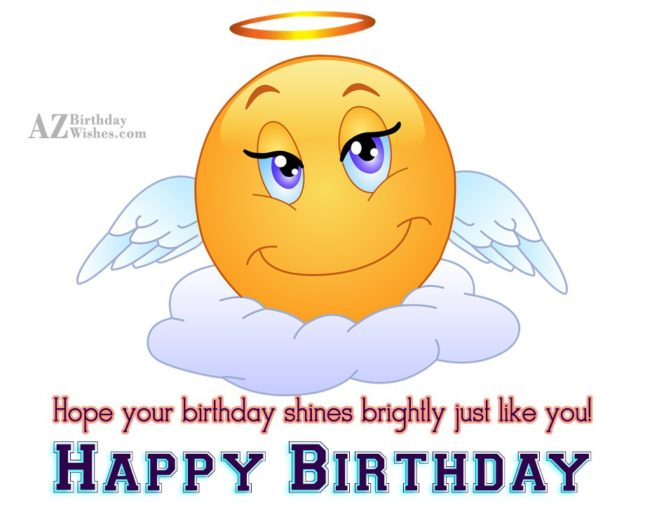 Birthday greeting with an angel emoticon… - AZBirthdayWishes.com
