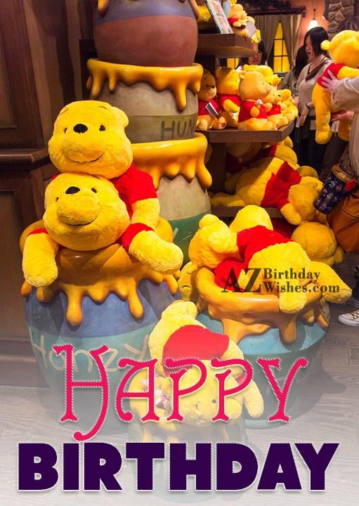 Happy birthday with Pooh bear in Hunny… - AZBirthdayWishes.com
