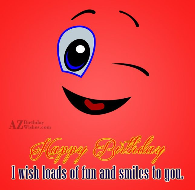 Birthday greeting with winking emoticon… - AZBirthdayWishes.com