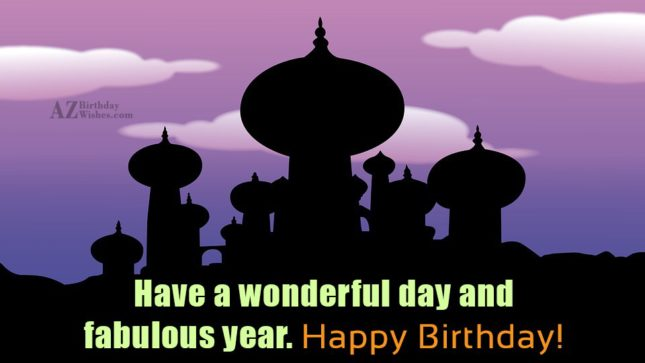Birthday greeting with Alladin's castle… - AZBirthdayWishes.com