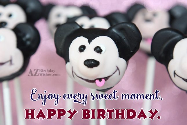Birthday greeting with Mickey Mouse candies… - AZBirthdayWishes.com