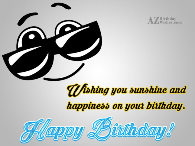 Birthday greeting with cool emoticon wearing shades… - AZBirthdayWishes.com
