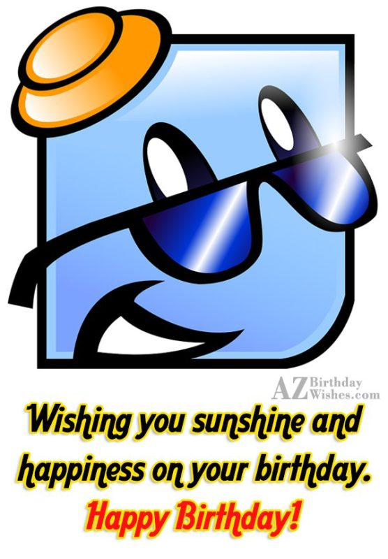 Birthday greeting with emoticon wearing hat… - AZBirthdayWishes.com