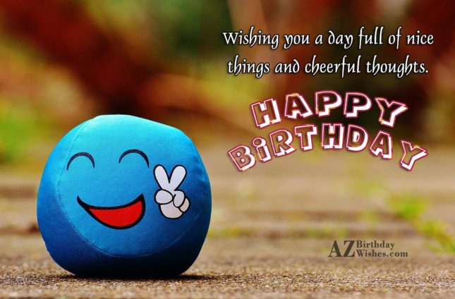 Happy birthday on an emoticon showing victory… - AZBirthdayWishes.com