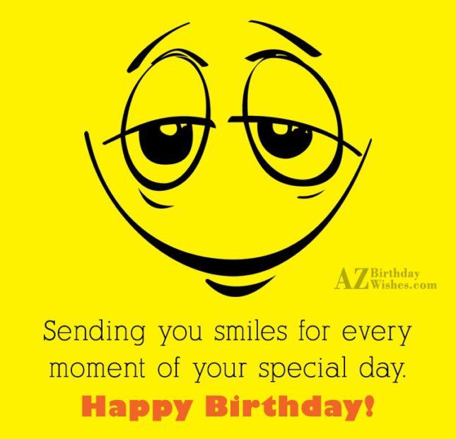 Happy birthday with a sleepy emoticon… - AZBirthdayWishes.com