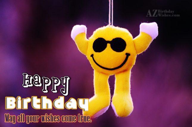 Happy birthday on a hanging stuffed emoticon… - AZBirthdayWishes.com