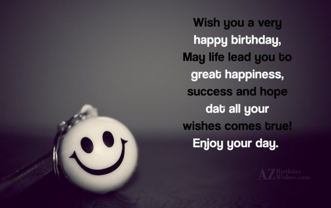 Birthday greeting on a smiling key chain… - AZBirthdayWishes.com