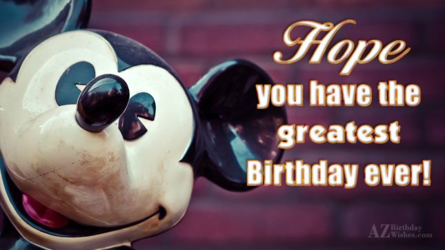 Birthday greeting with Mickey Mouse's face… - AZBirthdayWishes.com