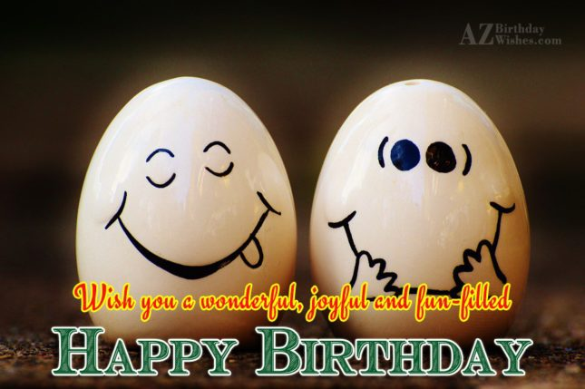 Birthday wish with emoticon made on eggs… - AZBirthdayWishes.com