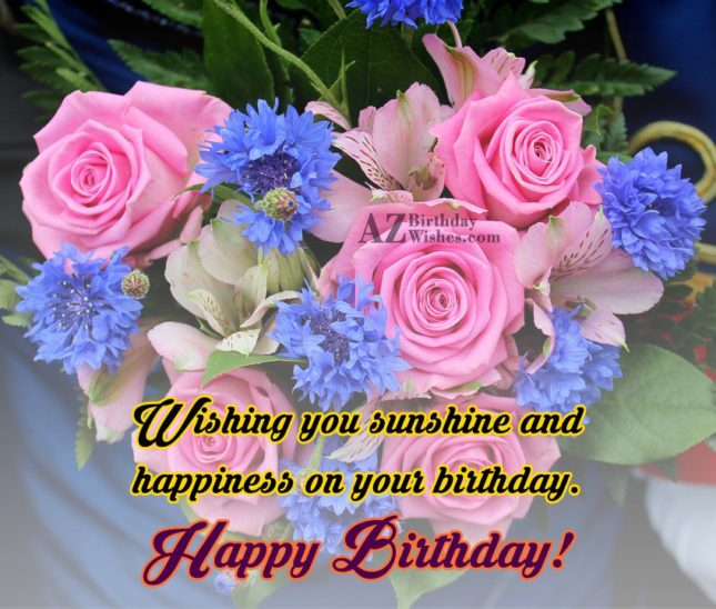 Wishing birthday with bouquet on the background… - AZBirthdayWishes.com